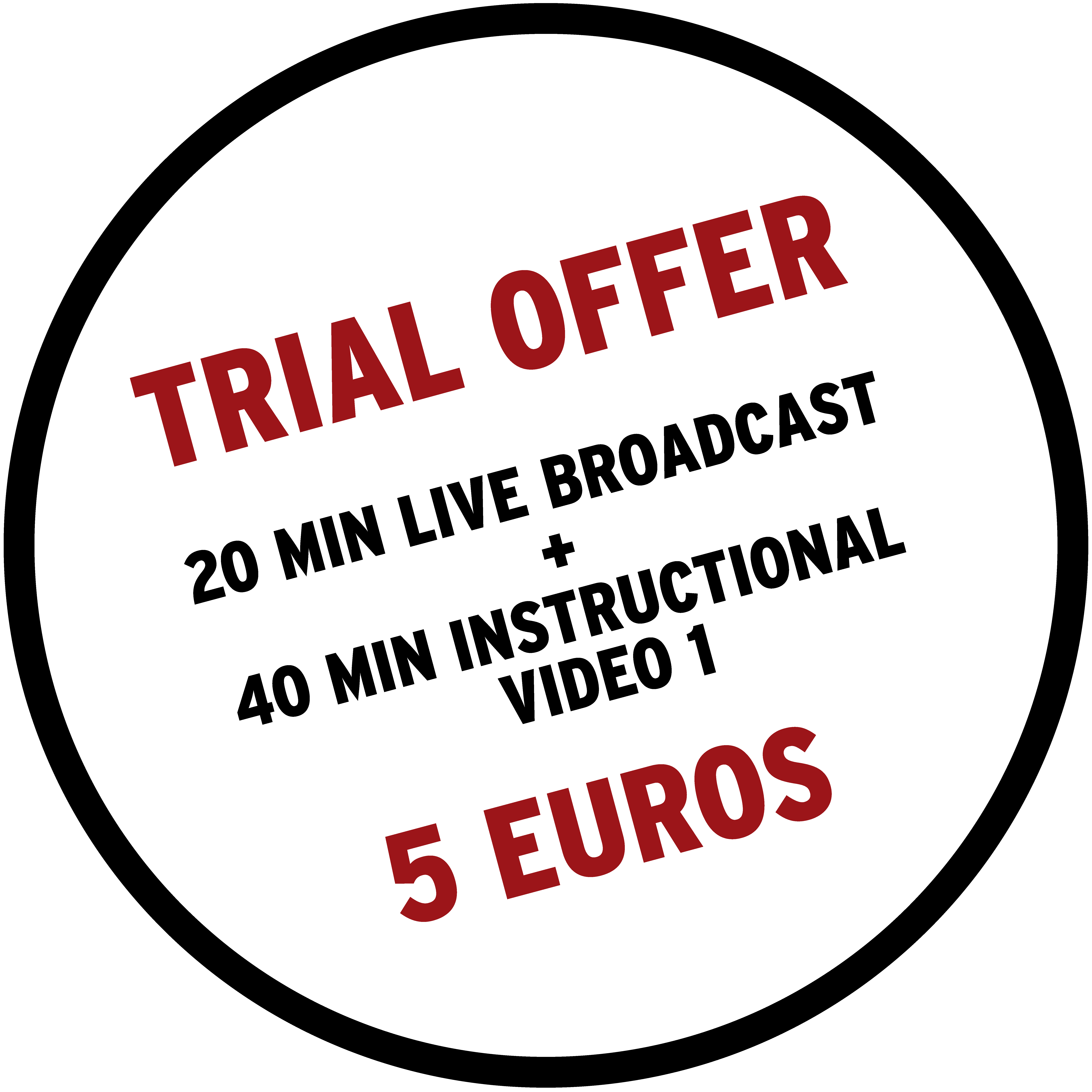 A depiction of a circle that includes the information about our 5€ trial offer.